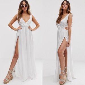 ASOS Tie Back Double Slit Maxi Beach Dress White 0